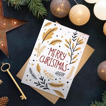 Joyeux noël lettrage sur fond festif