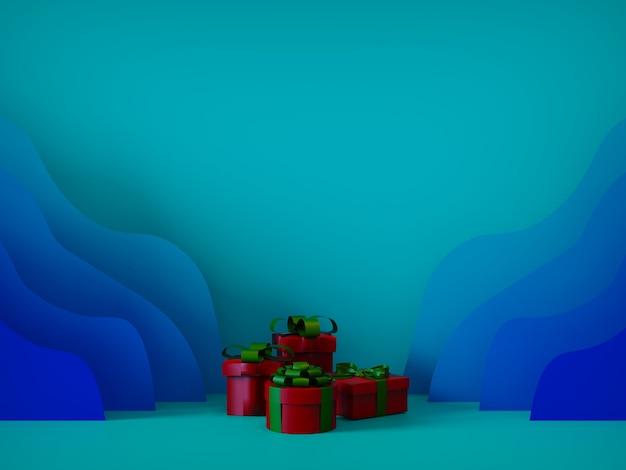 Joyeux noël pour les magasins et les réseaux sociaux en papier découpé avec des coffrets cadeaux bleu