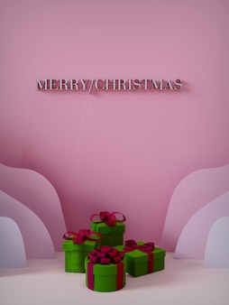 Joyeux noël pour les magasins et les réseaux sociaux en papier découpé avec des coffrets cadeaux rose