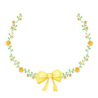 Joyeux printemps, bouquets de fleurs jaunes avec ruban