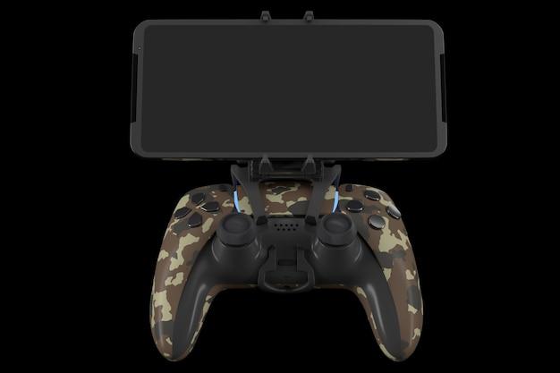 Joystick réaliste pour jouer à des jeux sur un téléphone mobile isolé sur noir