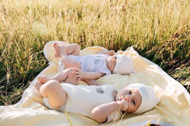 Jumeaux drôles sœurs nouveau-nés couchés sur l'herbe dans la journée d'été