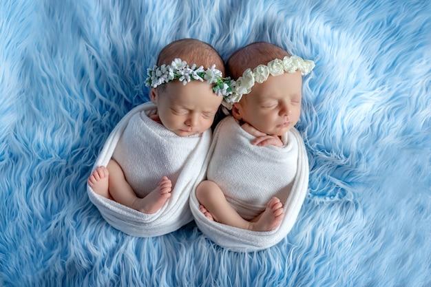 Les jumeaux nouveau-nés dorment sur un fond bleu