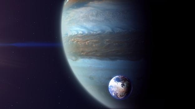 Jupiter comme une exoplanète avec exomoon