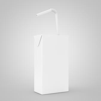 Jus blanc, yaourt ou boîte de lait avec paille à boire et espace libre pour le vôtre design sur fond blanc. rendu 3d