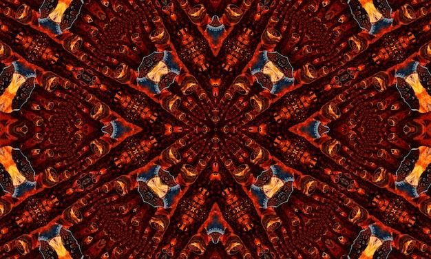 Kaléidoscope au gingembre. fond d'écran groovy. batik de répétition de gingembre. couleur géométrique noire. horreur psychédélique mystique. tapis géométrique blanc. fond d'écran mystique sans soudure.