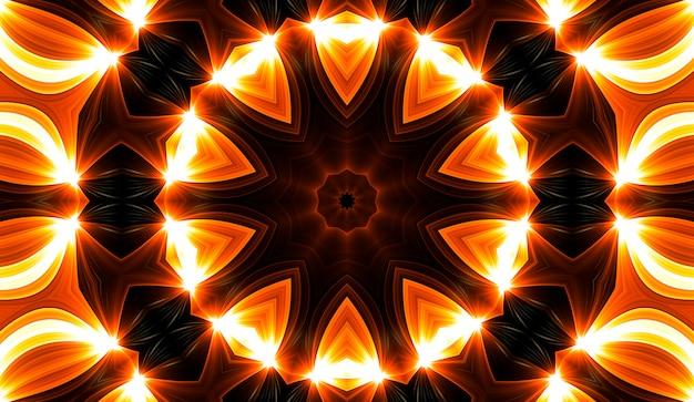 Kaléidoscope jaune chaud. impression de teinture de cravate en spirale d'automne. texture kaléidoscopique. robe gitane. conception de mélange de couleurs de couleurs chaudes. conception de tissu indonésien aux couleurs chaudes. conception colorée de tourbillon de hippies lumineux