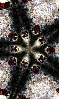 Kaléidoscope noir et blanc. motif floral monochrome. peut être utilisé pour la conception de pages de livre de coloriage, passe-temps anti-stress pour adulte. thème noir, illustration noir et blanc. image verticale.