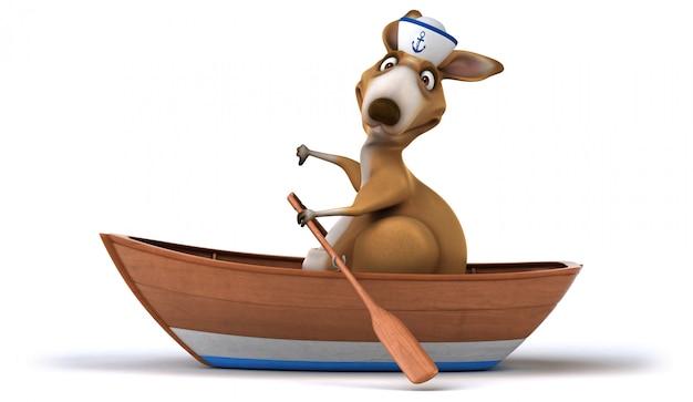 Kangourou amusant sur bateau