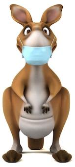 Kangourou amusant avec un masque