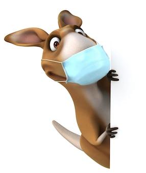 Kangourou de dessin animé amusant avec un masque