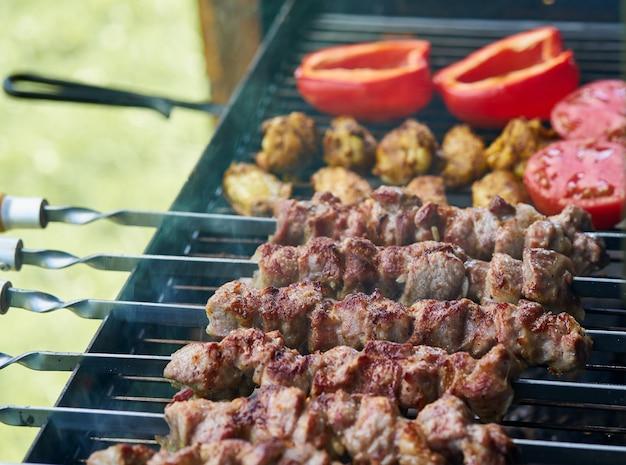 Kebab barbecue avec des ailettes et des tomates avec du poivron rôti en demi-finition