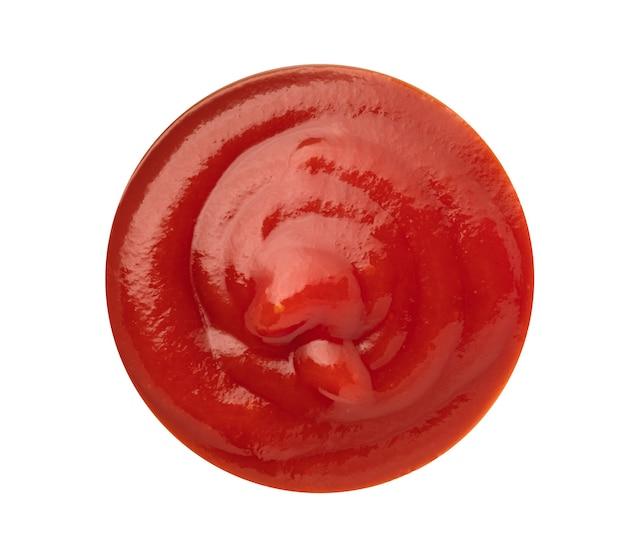 Ketchup aux tomates en isolé avec un tracé de détourage.