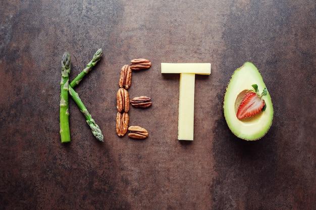 Keto mot fabriqué à partir de nourriture cétogène