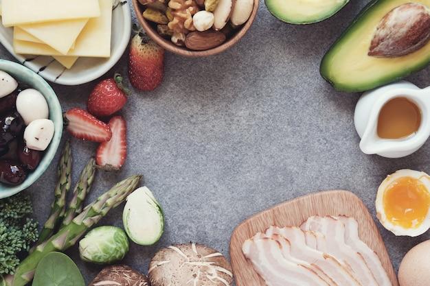 Keto, régime cétogène, faible en glucides, des aliments sains