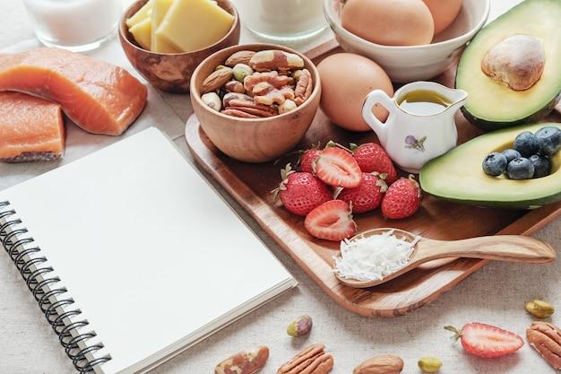 Keto, régime cétogène, faible teneur en glucides, haute et bonne graisse, aliments sains