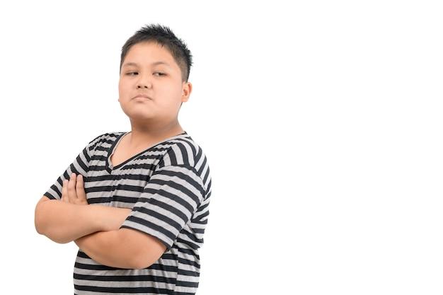 Kid asiatique garçon visage expression envie, jaloux isolé fond blanc