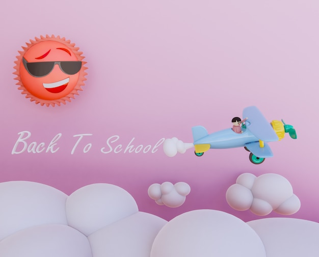 Kid sur avion rendu 3dcartoon