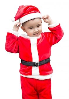 Kid sur un costume de père noël