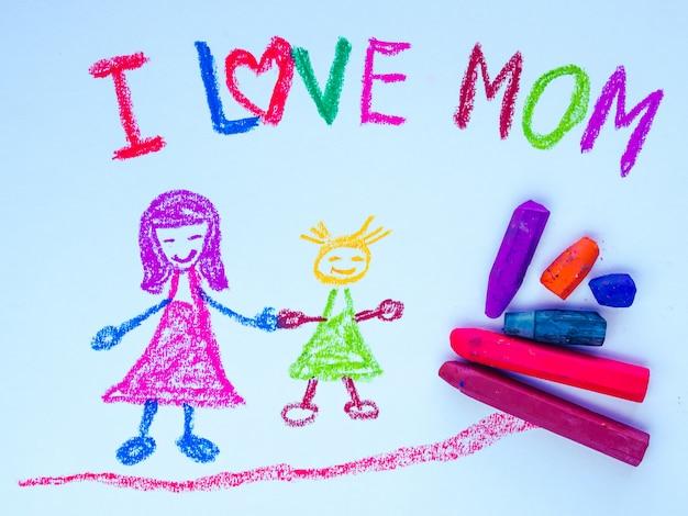 Kid dessin de mère tenant sa fille pour la fête des mères heureuse.