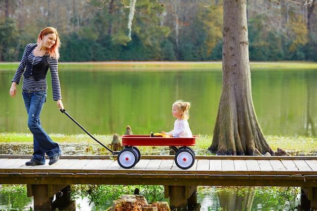 Kid fille et mère marchant dans le lac avec chariot