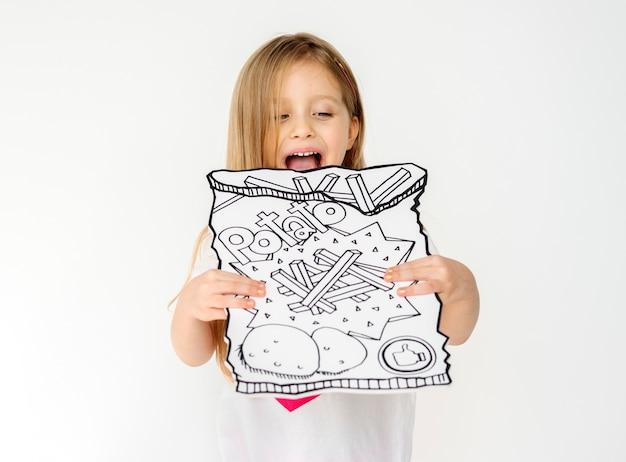 Kid portrait tenant icône papier