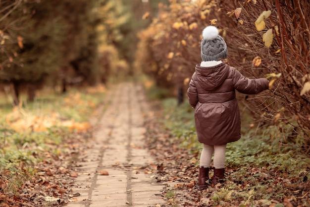 Kid walking in automne parkchild girl wear en bonnet gris avec pomponpath avec des feuilles tombées