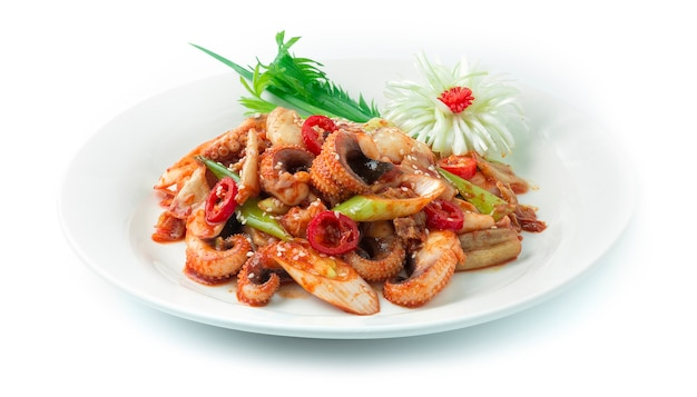 Kimchi sauté aux calmars (ojing o bogeum) cuisine coréenne garnie de côtelettes de poireaux et d'oignon de printemps décorer le sésame, la forme de fleur de poireau sculptée et l'oignon de printemps.