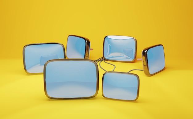 Kinescopes rétro pour récepteurs de télévision sur fond jaune, 3d