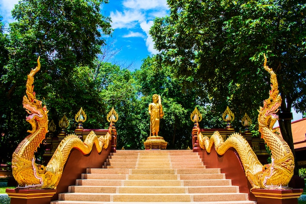 King of nagas (serpent) escaliers et phra sivali à wat ratchakirihirunyaram, phitsanulok, thaïlande. dragon crache des arts de serpent.