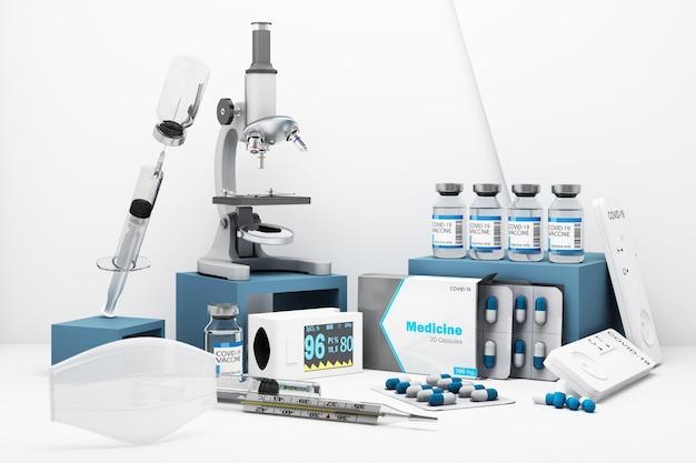 Kit d'autotest covid-19 avec vaccin et médicament sur fond blanc. rendu 3d