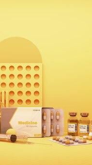 Kit d'autotest covid-19 avec vaccin et médicament sur fond jaune. rendu 3d