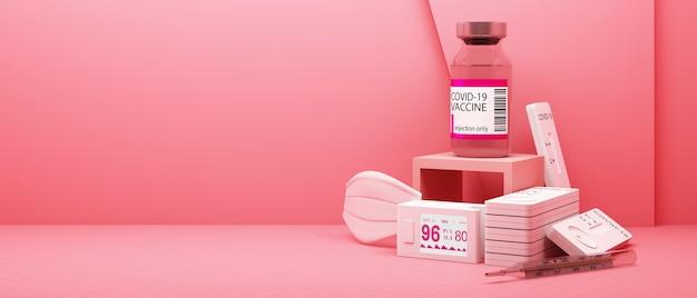 Kit d'autotest covid-19 avec vaccin et médicament sur fond rose. rendu 3d