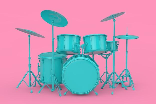Kit de batterie bleu professionnel rock black mock up sur fond rose. rendu 3d