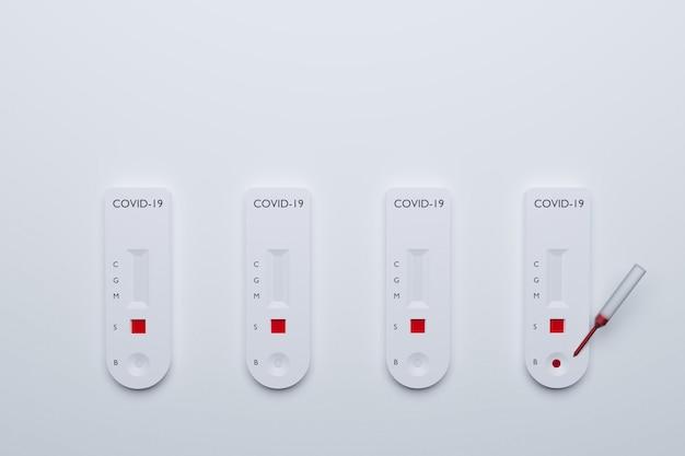 Kit de test rapide covid-19, test sanguin rapide maladie covid19 avec résultat de test différent, rendu d'illustrations 3d