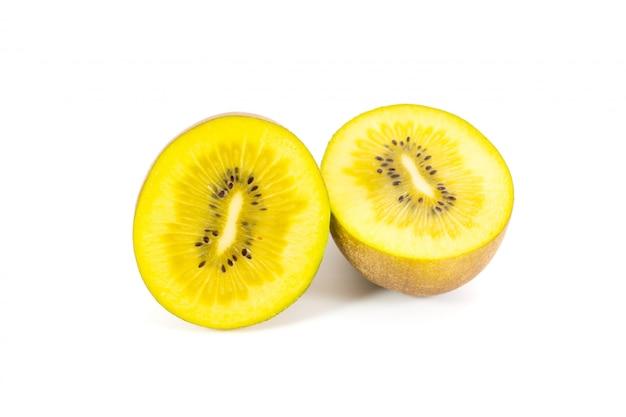 Kiwi jaune sur blanc