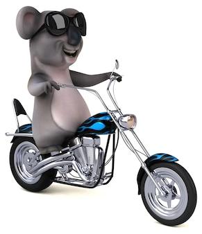 Koala de dessin animé amusant sur une moto