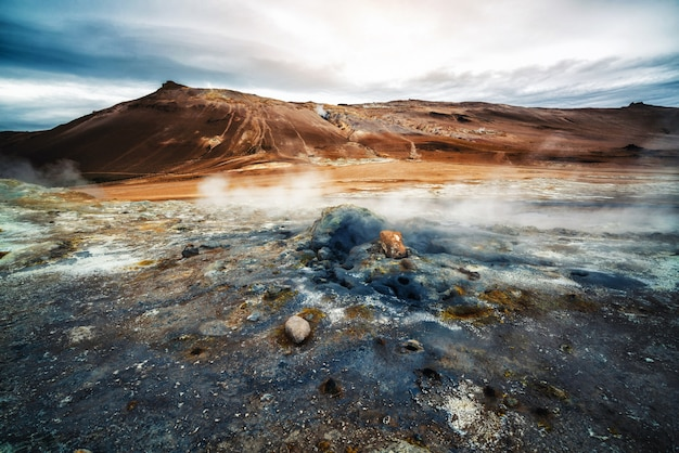 Krafla géothermique de hverir, namafjall en islande