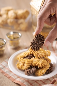 Kue sagu keju, kue tambang et kue semprit. biscuits pour lebaran idul fitri eid mubarak
