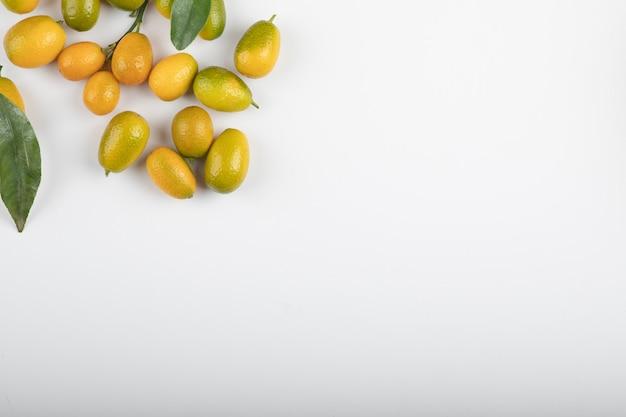 Kumquats mûrs frais avec des feuilles sur blanc.