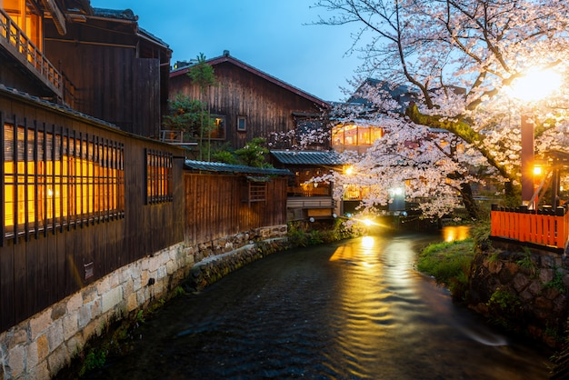 Kyoto, japon, au bord de la rivière shirakawa dans le district de gion au printemps.