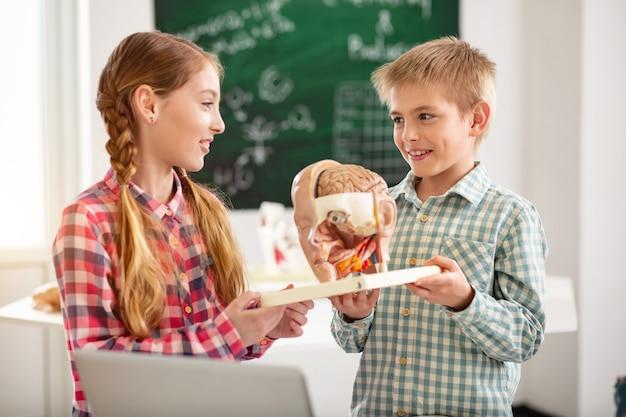 Laboratoire de biologie. beaux enfants positifs tenant un modèle d'organe tout en étant dans le laboratoire de biologie à l'école