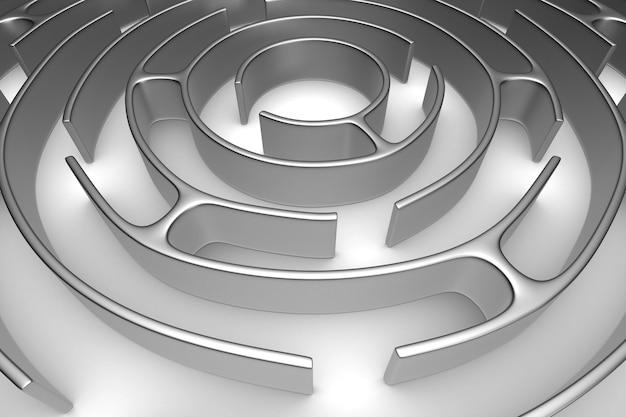 Labyrinthe de cercle sur fond blanc. illustration 3d isolée