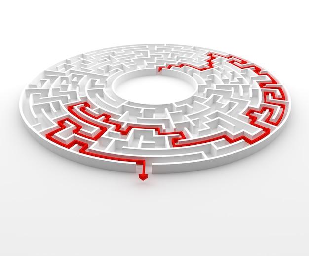 Labyrinthe circulaire rendu 3d avec solution.