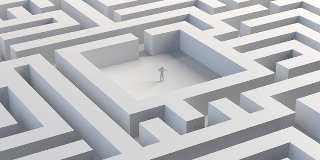 Labyrinthe avec personne au centre. gagnant. illustration 3d. bannière.