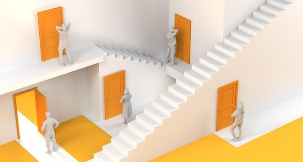 Labyrinthe de portes et d'escaliers avec des gens devant les portes. espace de copie. illustration 3d.