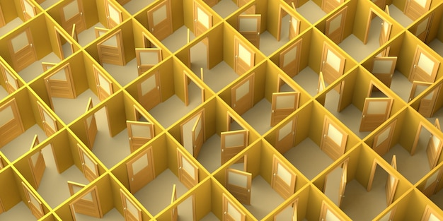 Labyrinthe de portes ouvertes et fermées. espace de copie. illustration 3d.