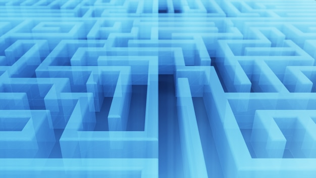 Labyrinthe transparent technologique sans fin