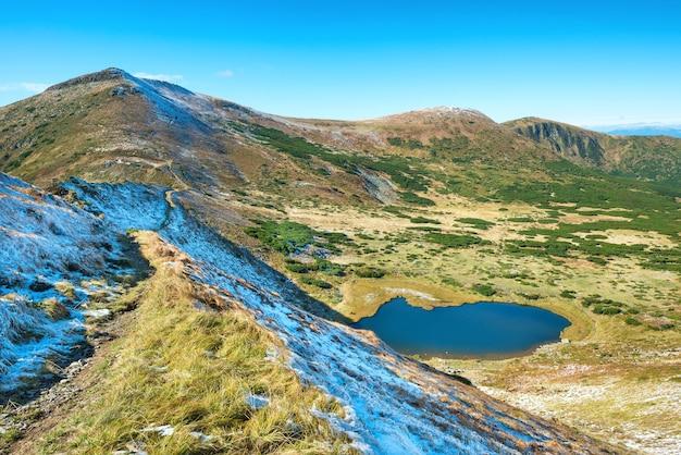 Lac bleu dans les montagnes avec neige et vallée verte