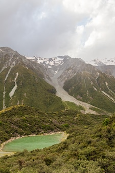Le lac bleu est des pistes de glacier vert ile sud nouvelle zelande